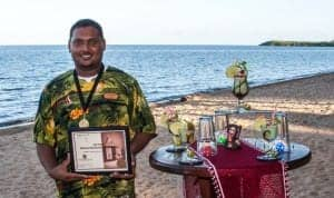 Hamanasi bartender Mark Jacobs after winning the annual Belize Traveller's Rum mixology championship in Belize City
