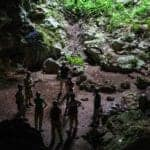 tour group from Hamanasi resort exiting St Herman's cave in Belize